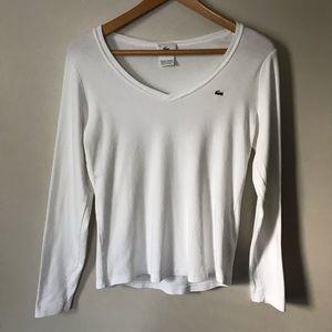 Lacoste White V Neck Long Sleeve L 44